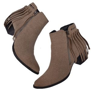 C Label Boho Tan Fringe Booties 7
